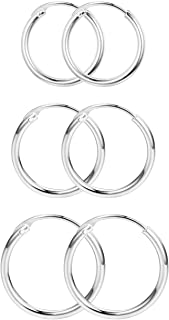 Milacolato 925 Sterling Silver Polished Endless Hoop Earrings for Men Women 13mm/15mm/18mm