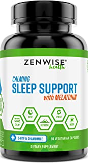 Natural Sleeping Aid - Nighttime Sleep Support Supplement - with 100 MG 5 HTP + Magnesium to Fall Asleep Fast - Chamomile ...
