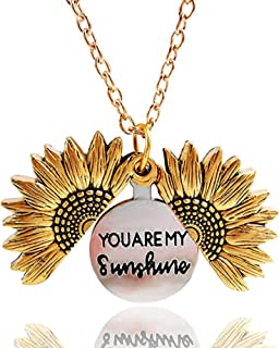 Dreamslink Sunflower Locket Necklace You are My Sunshine Engraved Pendant Necklace for Women Girls with Nice Gift Box