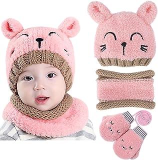 Petalum 3 Pcs Bébé Bonnet Chapeau Ours Écharpe Gant Doublé Polaire Baby Knit Beanie Hat Enfant Bas Âge Vêtement Hiver Nais...