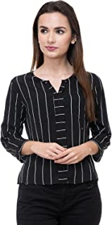 Deewa Black & White Polycrepe Casual Tops for Women