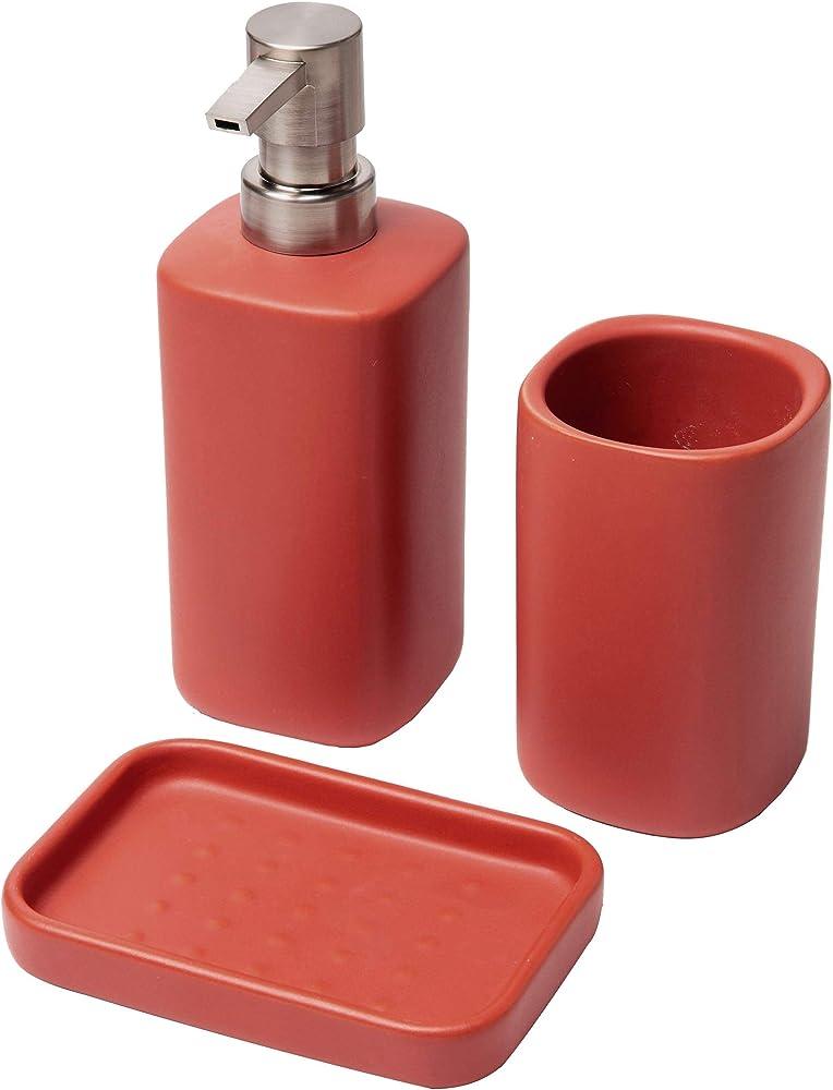 Baroni home , set 3 pezzi in ceramica per il bagno , dispenser, bicchiere e portasapone