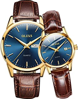 Men's and Women's Couple Pair Watches-OLEVS His and Hers Set Ultra Thin Casual Classic Date Leather Waterproof Matching Wrist Watch Romantic Valentine's Day Love Gift Set
