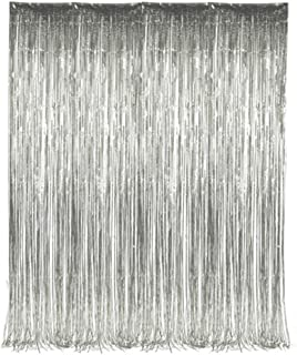 Set of 2 Silver Foil Fringe Door & Window Curtain Party Decoration 3' X 8' (36