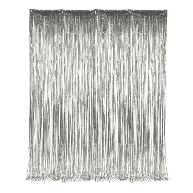 Set of 2 Silver Foil Fringe Door & Window Curtain Party Decoration 3' X 8' (36