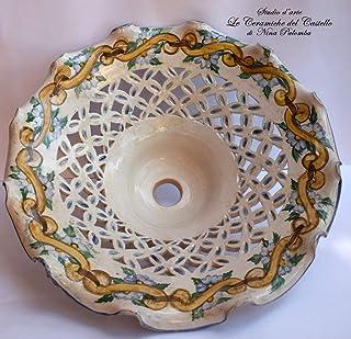 Lampadario diametro 45 centimetri Traforato Linea Classica coppetta a soffitto PARTI ELETTRICHE Ceramica Le Ceramiche del ...