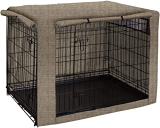 "Dog Crate Cover, Ventilated Pet Keneel Cover, Durable Double Door Polyester Dog Crate Cloth Cover, Air Flow/Universal Fit for Wire Dog Crate (S:31"" Lx20 Wx21 H, Khaki)"