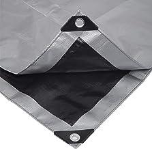 Dekzeil, afdekzeil, beschermzeil, bootzeil, polyethyleen, waterdicht, grijs-zwart 2x3m