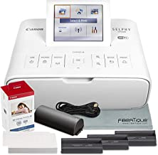 Canon SELPHY CP1300 Compact Photo Printer (White) with WiFi and Accessory Bundle w/Canon Color Ink and Paper Set + Battery