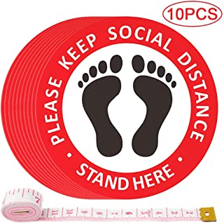 """Social Distancing Floor Decals - 10 Pack 12"""" Round Floor Stickers, Waterproof, Anti-Slip, Keep 6 Feet Healthy Social Distance, for Supermarkets, Restaurants, Coffee Shops and Other Public Places"""
