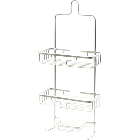 Splash Home Aluminum Kohala Shower Caddy Bathroom Hanging Head Two Basket Organizers Plus Dish For Storage Shelves For Shampoo, Conditioner and Soap, 24 x 5 x 11 Inches, Chrome