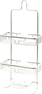 Splash Home Aluminum Kohala Shower Caddy Bathroom Hanging Head Two Basket Organizers Plus Dish For For Storage Shelves For Shampoo, Conditioner and Soap, 24 x 5 x 11 Inches, Chrome