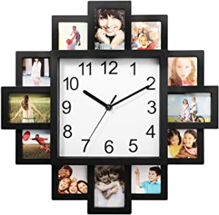 LordBee Multi-Photo Display Modern Design Clock Picture Collage 12-P Display Wall Clock Photowall Home Decor Durable Lightweight