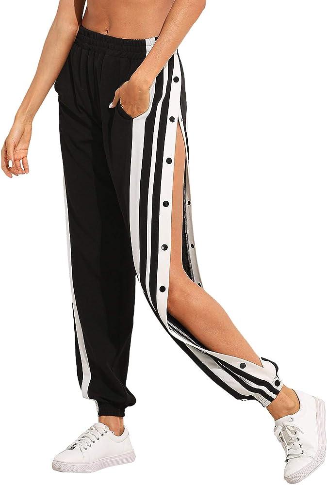 Soly hux, pantaloni da donna a strisce, con elastico in vita,con  tasche e bottoni 07190430833-12-16-XS