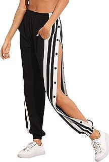 SOLY HUX Damesbroek, sweatbroek, strepen, sweatpants, elastische tailleband, joggingbroek met zakken, knopen