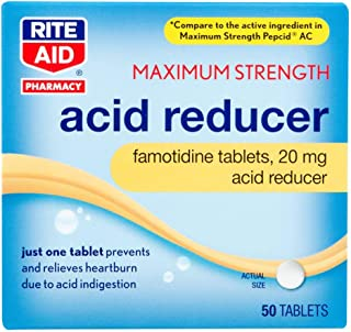 Rite Aid Acid Reducer Tablets, Maximum Strength, 20 mg - 50 Count   Heartburn Medicine   Stomach Relief   Acid Reflux Pills