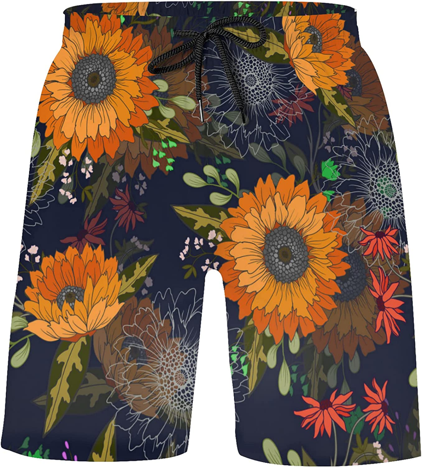 Sunflowers and Wild Flowers on Black Boys Bathing Suits Athletic Tennis Shorts Swim T