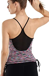 JINSEYUAN Women's Workout with Built in Bra Yoga Activewear Strap Shirts Sexy Sports Tank Tops