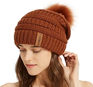 VEMOLLA Womens Winter Knit Slouchy Beanie Chunky Hats Bobble Hat Ski Cap with Faux Fur Pompom