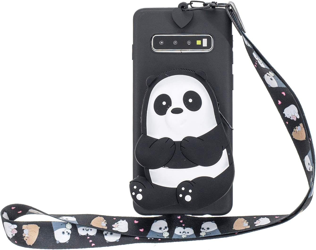 DAMONDY for Samsung Galaxy S10 Case,3D Cartoon Cute Pocket Purse Zipper Wallet Stand Holder Cover Soft Silicone Protective Case with Lanyard Strap for Samsung Galaxy S10 2019-Stripe Panda
