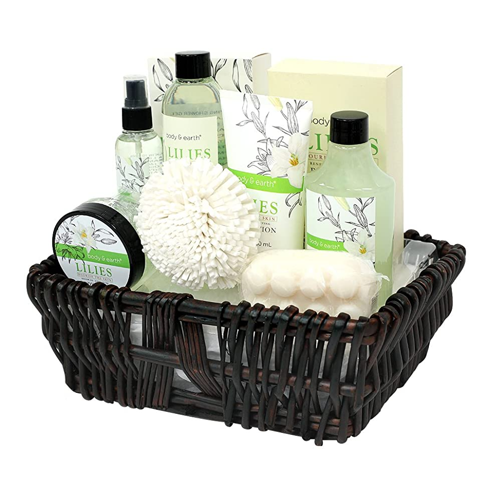 Gift Baskets for Women, Body & Earth Spa Gifts for Her, Lily 10pc Set, Best Gift Idea for Women gwlewyud518