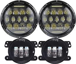 7'' Black 75w LED Driving Headlights with DRL+ 4 Inch LED Front Fog Lights for Jeep 97-2017 JK TJ LJ