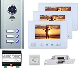7 Inch Video-Deurbel, Huisbeveiliging Video-Deurtelefoon, Intercom, Nachtzichtcamera + 3 Monitoren + Elektronisch Deurslot