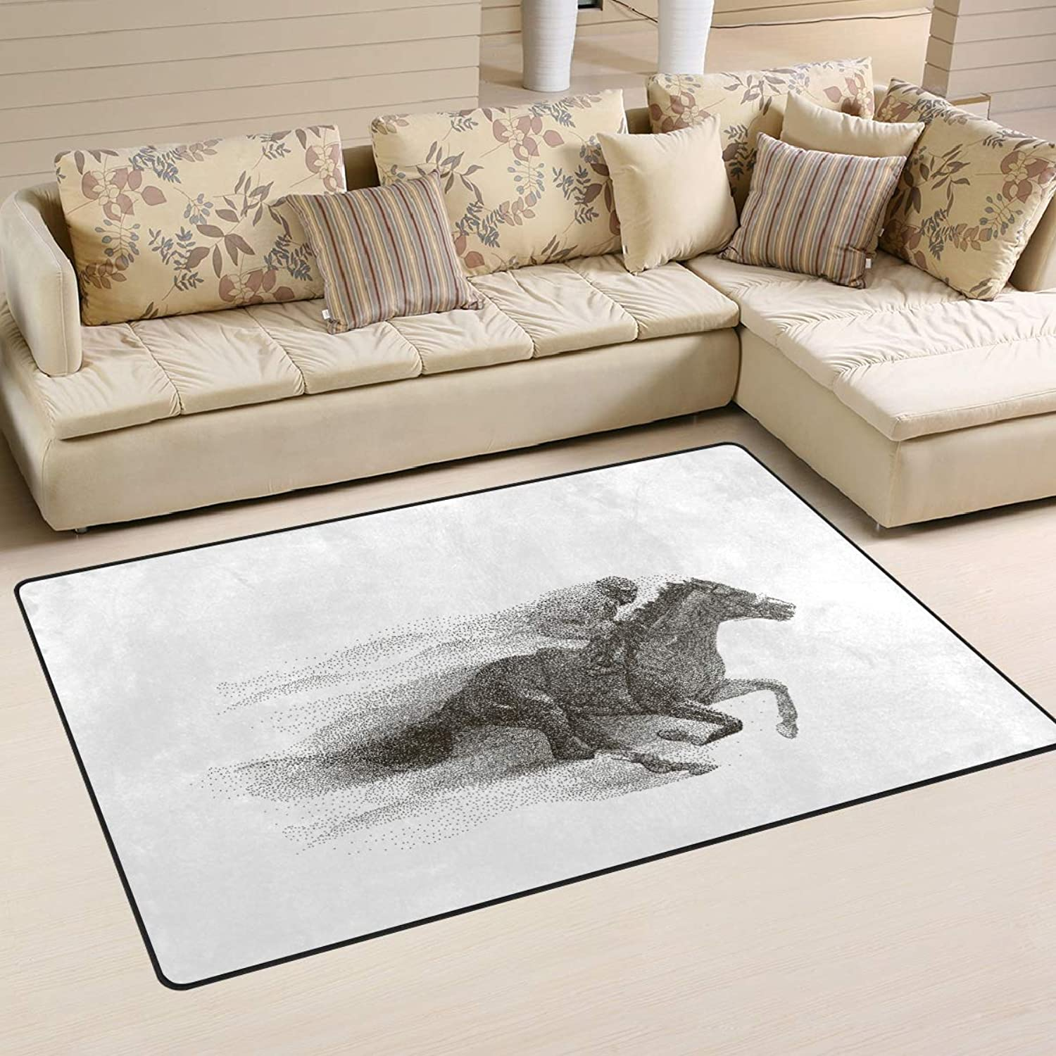 Area Rugs Doormats Cool Jockey Riding Horse 5'x3'3 (60x39 Inches) Non-Slip Floor Mat Soft Carpet for Living Dining Bedroom Home