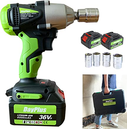 dicn Electric Impact Wrench Cordless with 1 2 inch Drive  amp  Sockets Set  14 17 19 22mm   High Torque 460N m 18V 2Pcs Rechargeable Battery 6000mAh with LED Light Carry Box
