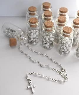 YRP 12 X Rosary Bottle Baptism Communion RECUERDOS DE BAUTIZO Quinceanera White/SILV
