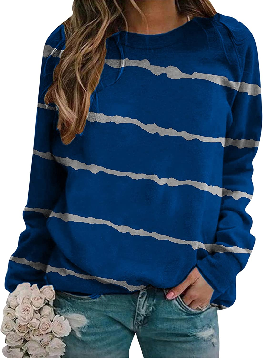 UOCUFY Long Sleeve Shirts for Womens, Womens Tops Casual Crewneck Long Sleeve Blouse Gradient Color Block Sweatshirt