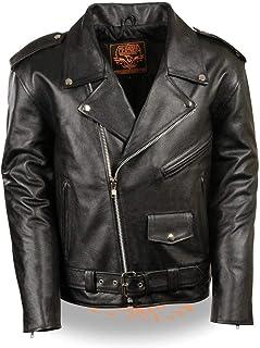Men's Classic Police Style M/C Jacket Big 4X - Lkm1781-Black-4X