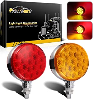Partsam Round Red/Amber Double Face Led Pedestal Lights with Reflectors 42 LED Waterproof Truck Trailer SUV RV Fender Mount Led Stop Turn Tail and Parking Light, Chrome Die Cast Housing