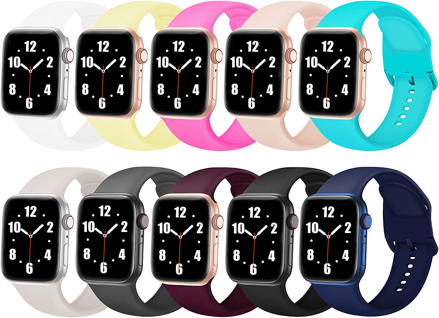 10 pack band Compatible with Apple Watch Bands 38mm 40mm 42mm 44mm, Soft Silicone Sport Replacement Strap with Custom Color Clasp for Women Men for iWatch Band Series 6 5 4 3 2 1 SE, 38mm/40mm