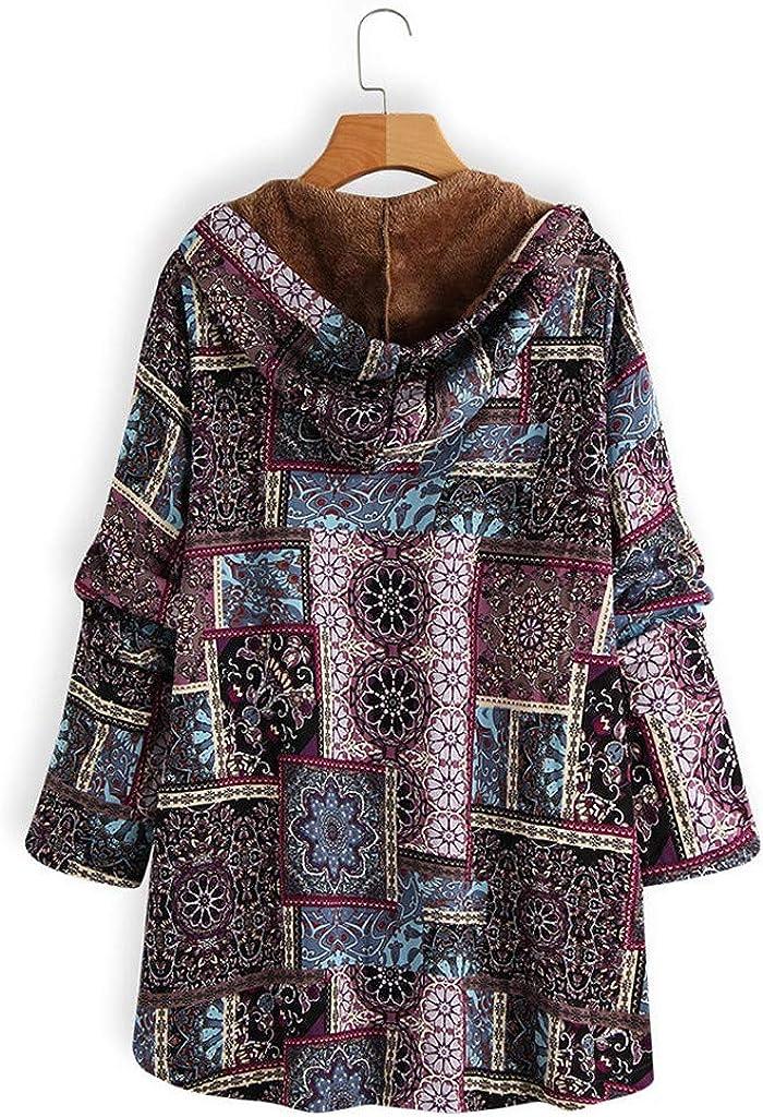 Yowablo Kapuzenpullover Damen Kapuzen Winter Hoodie Blumendruck Plus Size Plüsch Warme Taschen Langarm Jacke 5- Lila
