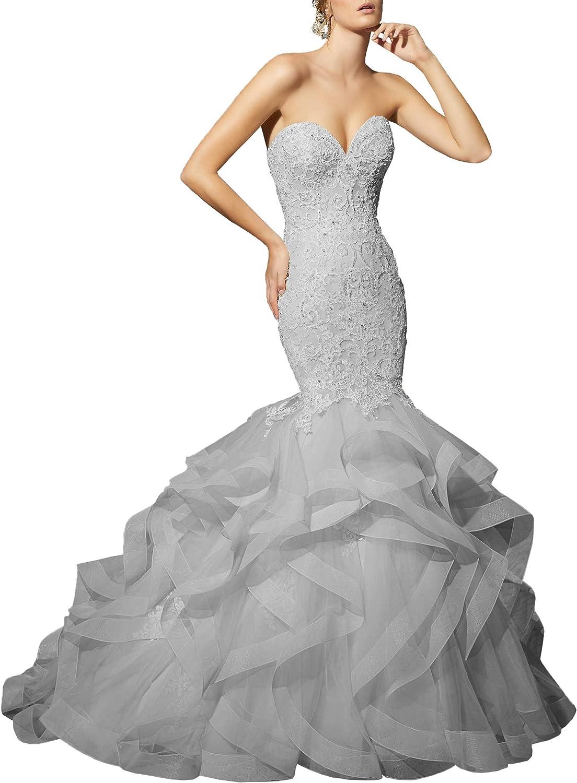 Wanshaqin Women's Mermaid Beaded Strapless Sweetheart Wedding Dresses Organza Ruffled Bridal Gowns Plus Size