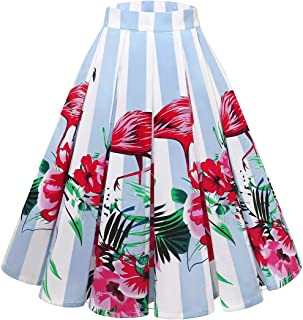 Women's Vintage A-line Printed Flared Midi Skirts with Pleated