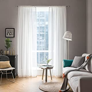 MIULEE 2 Panels Solid Color White Sheer Window Curtains Elegant Window Voile Panels/Drapes/Treatment for Bedroom Living Ro...