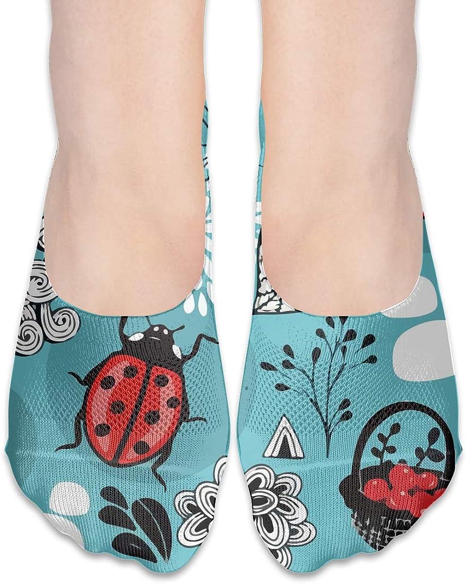 No Show Socks Women Men For Funny Ladybug Baby Blue Flats Cotton Ultra Low Cut Liner Socks Non Slip