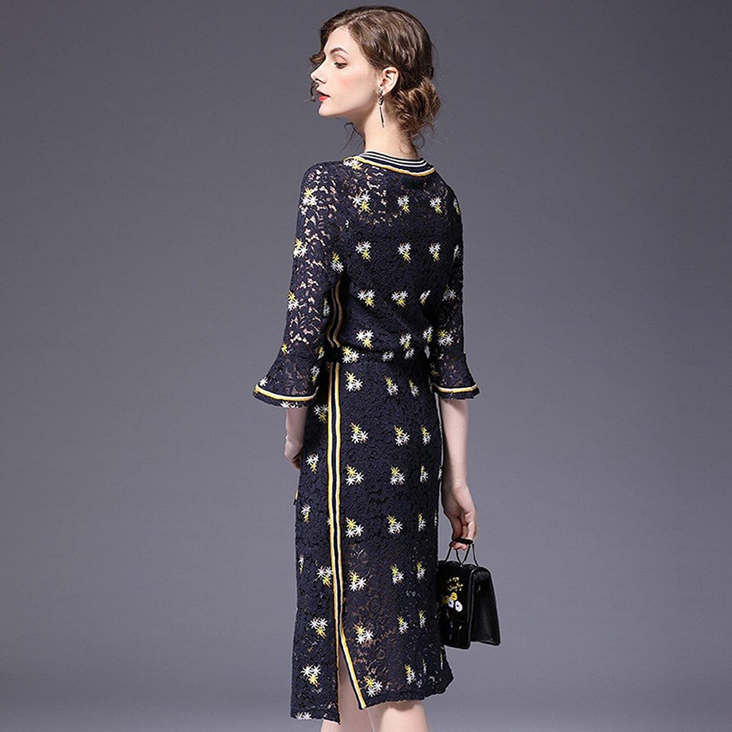 DEED Spring and Summer Large Size Women 'S Long Section of Heavy Embroidery Speaker Lace Dress