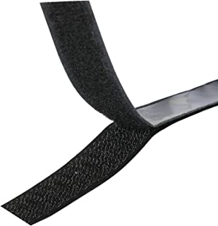 Hook and Loop Fastener 1 Meter Long 20mm Wide Black Strip Self Adhesive Sticky Back by TRIXES