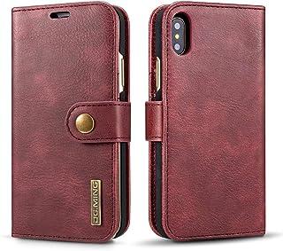 Apple iPhone X Case, Original Luxury Retro Genuine Flip Wallet Leather Mobile Phone Case with Card Slot Detachable Back Co...