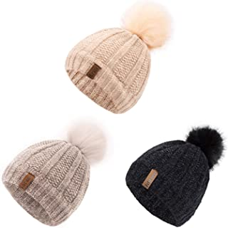 Kids Winter Hat Chenille Warm Fleece Lined Pompom Hats...