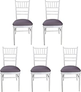 POFET - Funda elástica para silla de comedor de boda, 5 unidades, extraíble, elástica, lavable, color gris