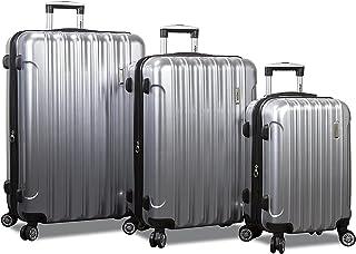 Dejuno Titan Jumbo Hardside 3-PC Spinner Luggage Set with TSA Lock, Silver, One_Size