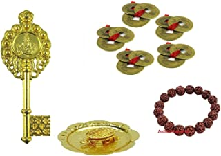 IndianStore4All Combo of 4 Feng Shui Set Of 15 Lucky Coins + Brass Tortoise In Plate + Kuber Kunji + Rudraksha Bracelet