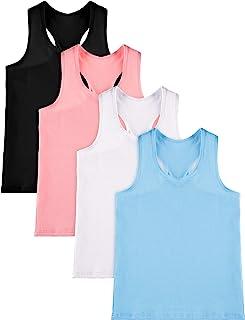 SATINIOR 4 Pieces Girls Dance Tank Tops Racerback Crop Tank Tops Sleeveless Top for Gymnastics