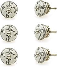 Möbelknopp möbelknopp möbelhandtag set av 6 112GN vintage nostalgi klockor (silver) – jay knapp keramik porslin handmålade...