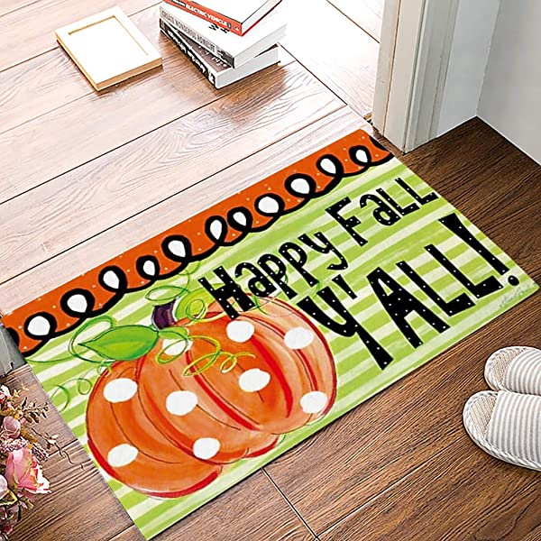 Cartoon Door Mat Happy Fall Pumpkins Decorative Felt Floor Mat With Non Skid Backing Fit For Home Indoor Kitchen 16 X 24 Inch