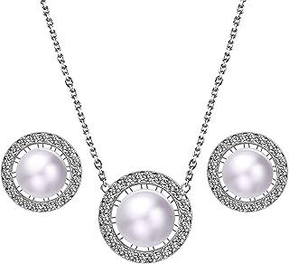 Czemo Juegos de Pendientes y Collar de Perlas de Agua Dulce y Plata de Ley 925 joyas para Mujer con Caja Regalo